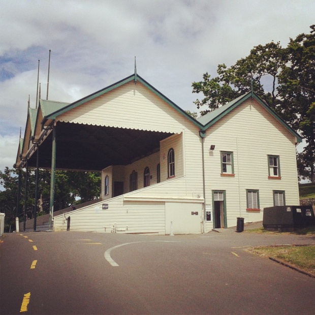 Auckland Domain cricket pavilion public toilet, exterior side view