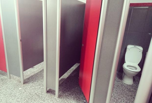 Waiouru public toilets, interior, stalls